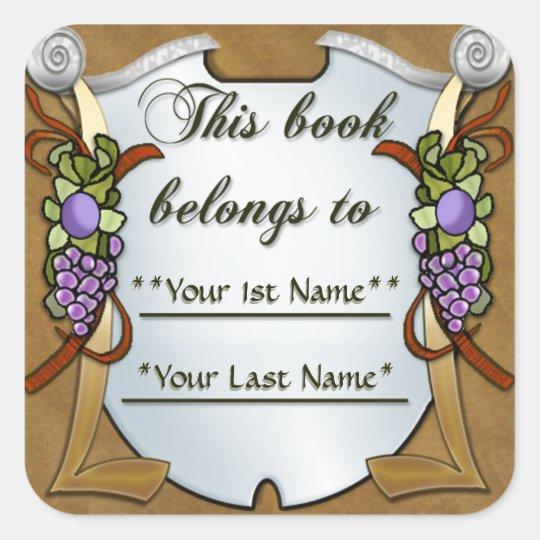 Grape Swags (Personalised Bookplate Sticker) Square Sticker