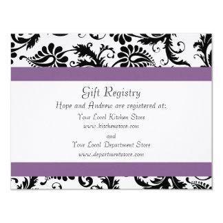 Grape Trim Black Damask Gift Registry Wedding Card
