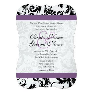Grape Trim Black Damask Swirls Wedding Invitation