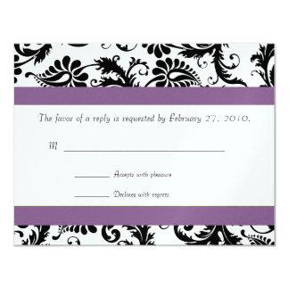 "Grape Trim Black Damask Swirls Wedding Response 4.25"" X 5.5"" Invitation Card"