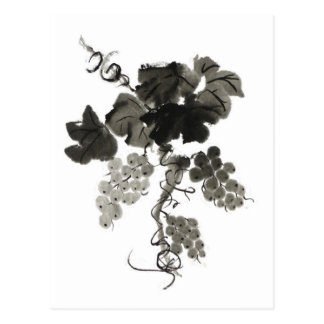 Grape Vine, Sumi-e Postcard