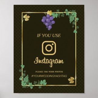 Grape Vines with Gold Frame Instagram Wedding Sign Poster