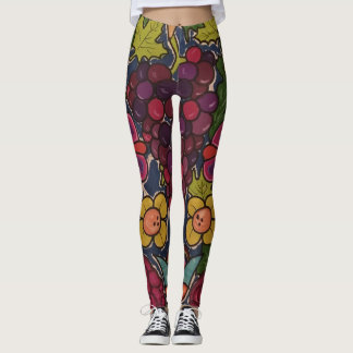 Grapes and flowers leggings