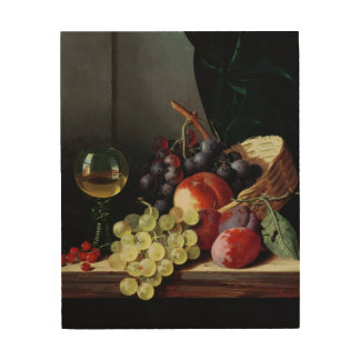 Grapes and plums wood wall decor