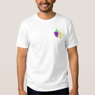 Grapes and Wheat Embroidered T-Shirt