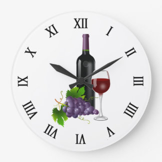 Grapes and Wine Large Clock
