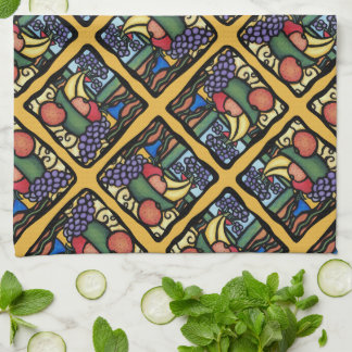 Grapes Apple Bananas Oranges Mixed Fruit Pattern Tea Towel
