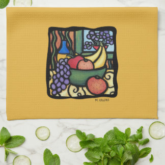 Grapes Apple Bananas Oranges Mixed Fruit Yellow Tea Towel