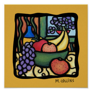 Grapes Apple Oranges Bananas Colorful Mixed Fruit Poster