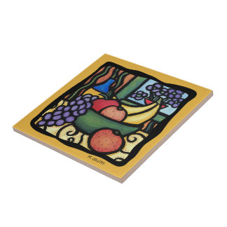 Grapes Apple Oranges Bananas Colorful Mixed Fruit Tile