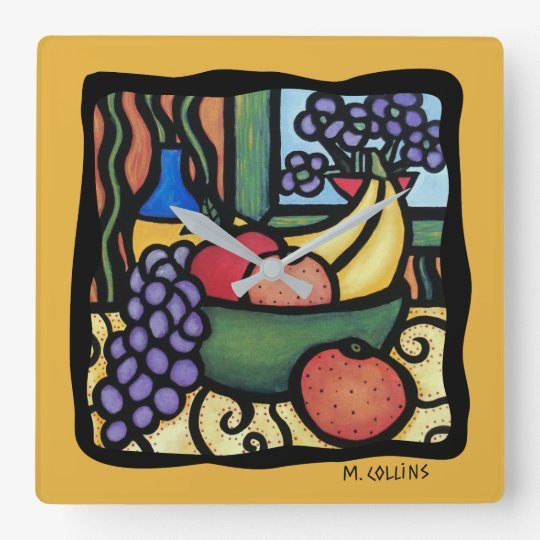 Grapes Apple Oranges Bananas Colourful Mixed Fruit Square