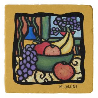 Grapes Apple Oranges Bananas Fruit Yellow Kitchen Trivet