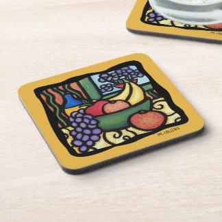 Grapes Apple Oranges Bananas Mixed Fruit Colorful Coaster