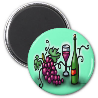 Grapes n Wine 6 Cm Round Magnet