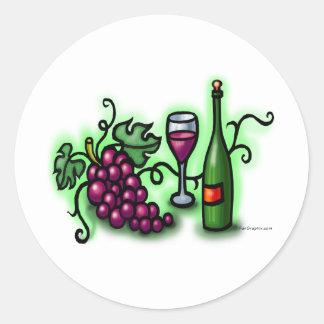 Grapes n Wine Round Sticker