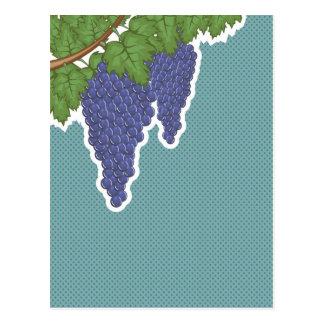 Grapes on a vine Vector Background pop art Postcard