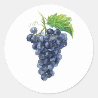 Grapes. Watercolor. Classic Round Sticker