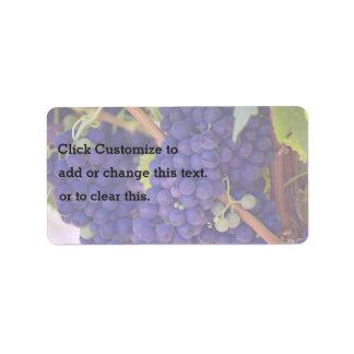 Grapevine Themed, Purple Grapes Grow On A Vine Wit Address Label