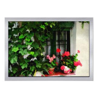Grapevines and Geraniums Around a Window 13 Cm X 18 Cm Invitation Card
