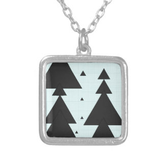 Graph PAPER christmastree Black trifishes Square Pendant Necklace