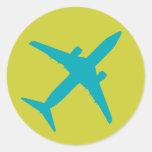 Graphic Aeroplane in Blue Round Sticker