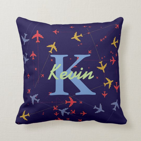 graphic aeroplanes personalised throw pillow