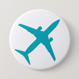 Graphic Airplane in Aqua Blue 7.5 Cm Round Badge