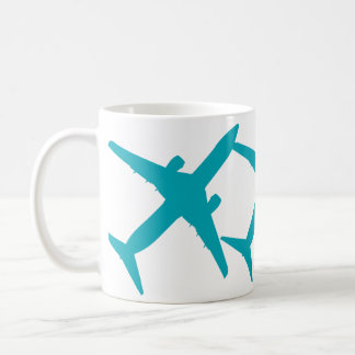 Graphic Airplane in Aqua Blue Coffee Mug