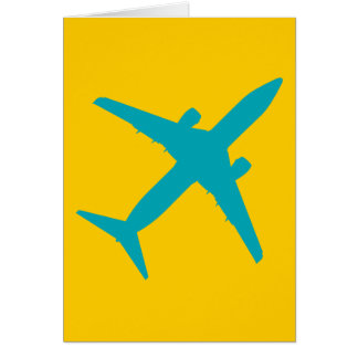 Graphic Airplane in Blue Greeting Card