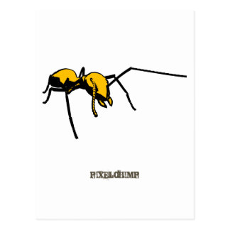 Graphic Ant Yellow Outline Postcards