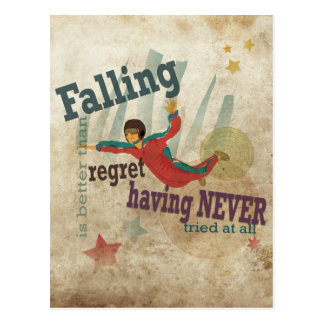 Graphic Art with motivational message: Skydiving Postcard
