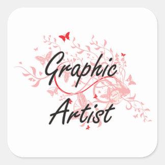 Graphic Artist Artistic Job Design with Butterflie Square Sticker