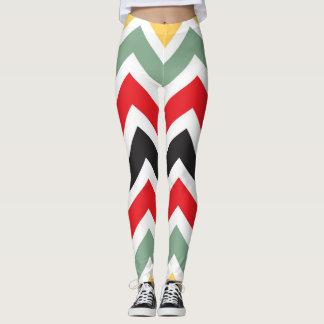 Graphic Autumn Colors Chevron Pattern Leggings