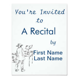 Graphic back view keyboard player sketch 11 cm x 14 cm invitation card