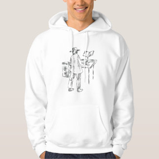 Graphic back view keyboard player sketch hoodie