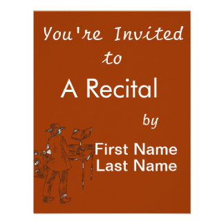 Graphic back view keyboard player sketch personalized invites