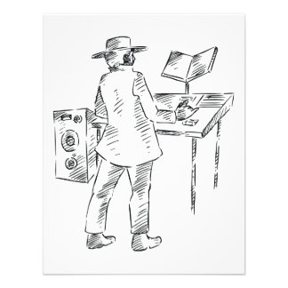 Graphic back view keyboard player sketch personalized announcements