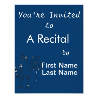 Graphic back view keyboard player sketch personalized invitation