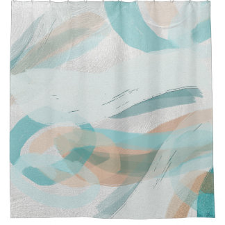 Graphic Big Bold Brush Strokes and Plaster Pattern Shower Curtain
