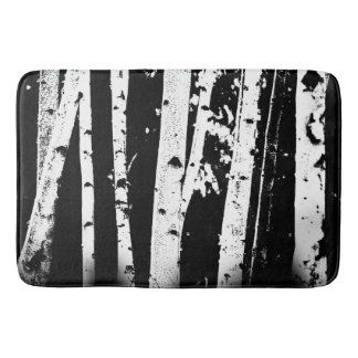 Graphic Black and White Birch Tree Forest Bath Mat