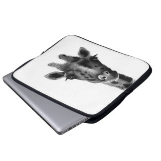 Graphic black and white giraffe laptop sleeve