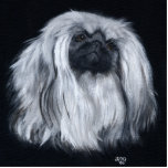 Graphic Black & White Pekingese Statuette Acrylic Cut Out