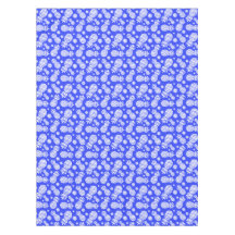 Graphic blue white pineapple flowers tablecloth