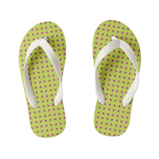 Graphic Butterflies   Lime Kid's Flip Flops