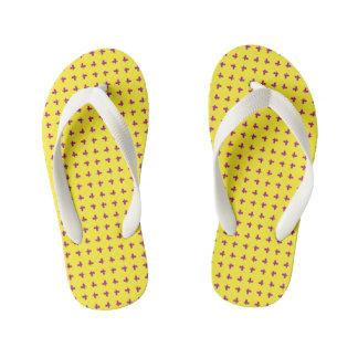 Graphic Butterflies   Yellow Kid's Flip Flops