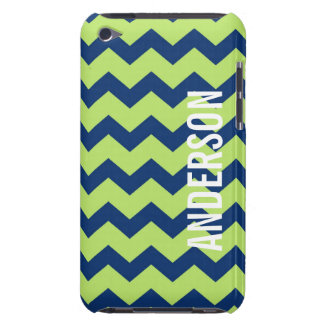 Graphic chevron pattern blue green your name iPod Case-Mate cases
