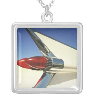 Graphic: Close-up of fin and taillight on Silver Plated Necklace