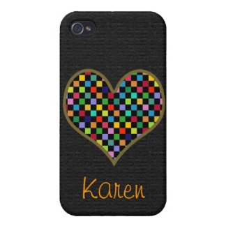 graphic color love checkered iPhone 4/4S cover