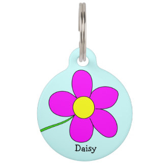 Graphic Daisy Flower on Blue Background Custom Pet Tags