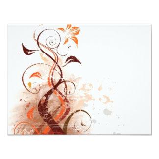 Graphic Design Floral 11 Cm X 14 Cm Invitation Card